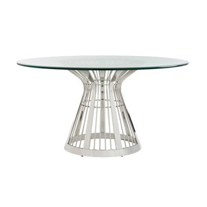 Ariana Silver Riviera Stainless Dining Table With 60 In. Glass Top