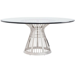 Ariana Silver Riviera Stainless Dining Table With 72 In. Glass Top