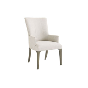 Ariana Silver Leaf Bellamy Upholstered Dining Arm Chair