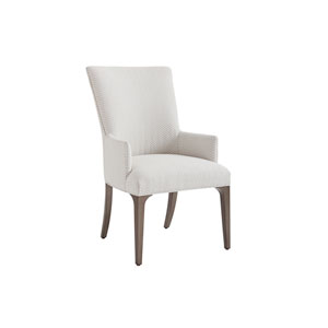 Ariana Silver and Gray Bellamy Upholstered Dining Arm Chair