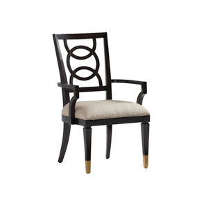 Carlyle Black and Beige Pierce Upholstered Dining Arm Chair
