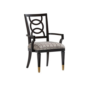 Carlyle Black, Brown and Cream Pierce Upholstered Dining Arm Chair
