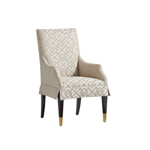 Carlyle Beige and Cream Monarch Upholstered Dining Arm Chair