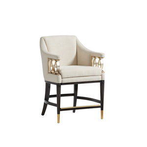 Carlyle Beige and Dark Brown Hemsley Upholstered Counter Stool