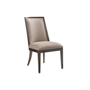 Zavala Beige and Walnut Ellipsis Upholstered Side Chair