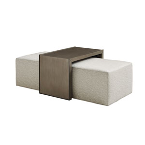 Ariana Ivory Savona Cocktail Ottoman With Slide