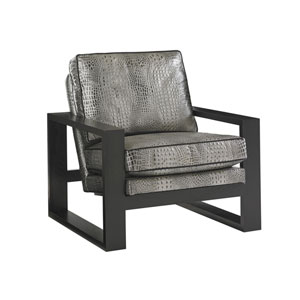 Carrera Black and Gray Axis Leather Chair