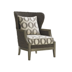Oyster Bay Brown Seaford Chair with Gray and White Cushions