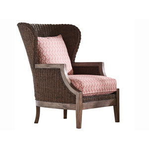 Oyster Bay Brown Seaford Chair with Red Cushions