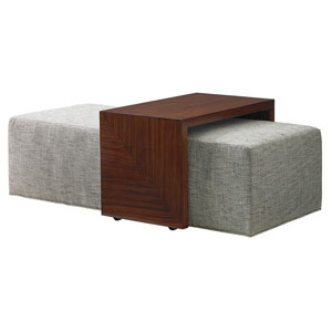 Take Five Gray and Brown Broadway Cocktail Ottoman with Slide