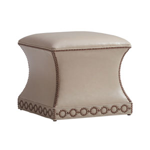 Carlyle Beige Merino Leather Ottoman
