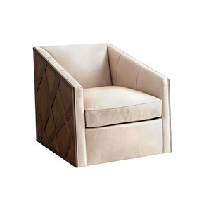 Zavala Ivory Sullivan Leather Swivel Chair