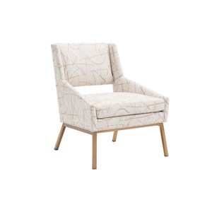 Kitano White and Bronze Amani Upholstered Chair With Bright Brass Base