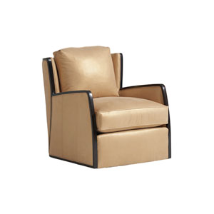 Carlyle Beige Delancey Leather Swivel Chair