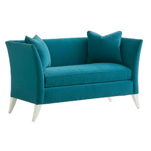 Avondale Blue and White Hampstead 60-Inch Settee