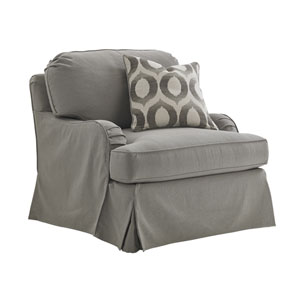 Oyster Bay Gray Stowe Slipcover Swivel Chair
