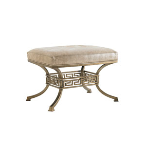 Tower Place Gold and Beige Beldon Leather Ottoman