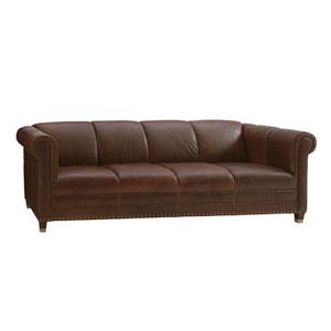 Carlyle Mahogany Springfield Leather Sofa