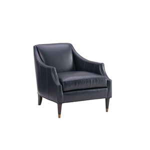 Carlyle Navy Blue Kerney Leather Chair