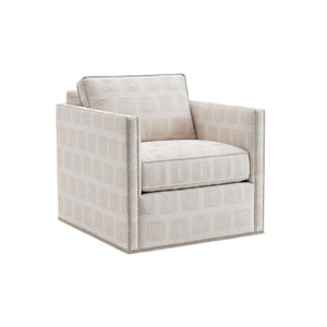 Kitano White Hinsdale Swivel Club Chair