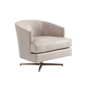 Zavala Beige Graves Leather Swivel Chair with Brass Base