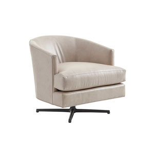 Zavala Beige Graves Leather Swivel Chair with Charcoal Base