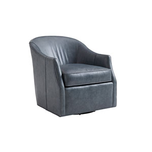 Ariana Blue Escala Leather Swivel Chair