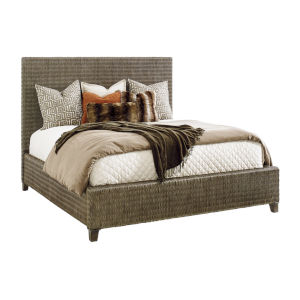 Cypress Point Smoke Gray Driftwood Isle Woven Queen Platform Bed