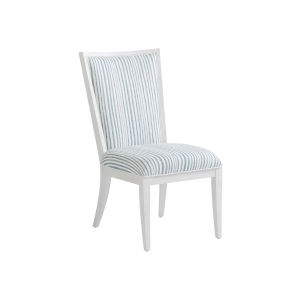 Ocean Breeze White and Blue Sea Winds Upholstered Side Chair