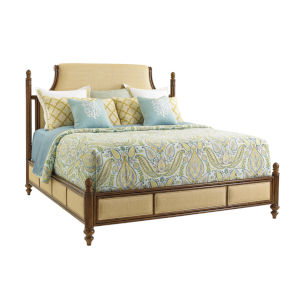 Bali Hai Brown Orchid Bay Upholstered California King Panel Bed