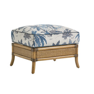 Twin Palms Brown, White and Blue Seagate Ottoman