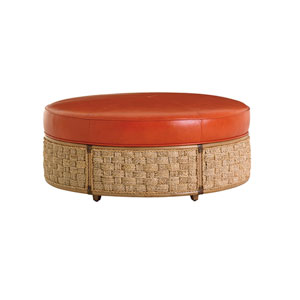 Twin Palms Brown and Orange St. Barts Leather Ottoman