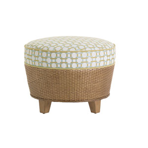 Twin Palms Brown, White and Blue Lago Mar Ottoman