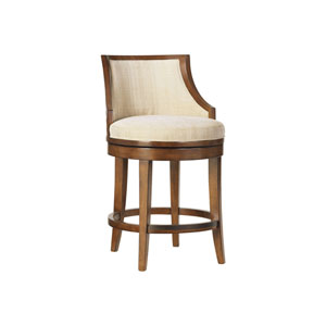 Ocean Club Brown and Ivory Cabana Swivel Counter Stool