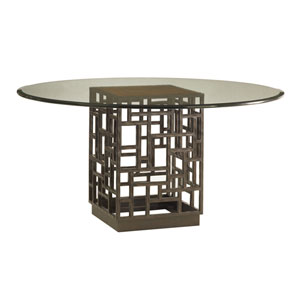 Ocean Club Brown South Sea Dining Table with 54 In. Glass Top
