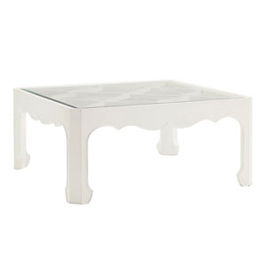 Ivory Key White Cassava Cocktail Table with Glass Insert