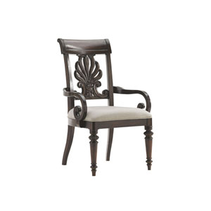 Island Traditions Dark Brown Chester Carved Arm Chair