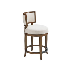 Island Fusion Brown and Ivory Macau Swivel Counter Stool