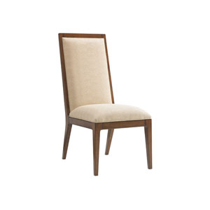 Island Fusion Brown and Beige Natori Slat Back Side Chair