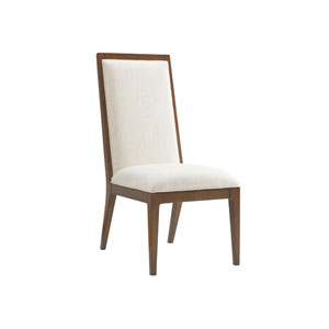 Island Fusion Brown and White Natori Slat Back Side Chair