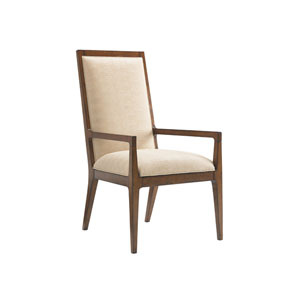 Island Fusion Brown and Beige Natori Slat Back Arm Chair