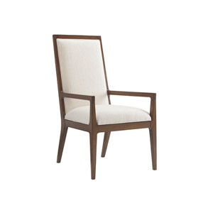 Island Fusion Brown and White Natori Slat Back Arm Chair