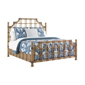 Twin Palms Brown St. Kitts Rattan King Bed