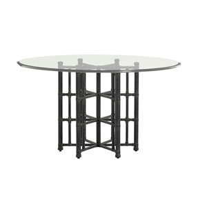 Twin Palms Black Stellaris Dining Table with 54 In. Glass Top