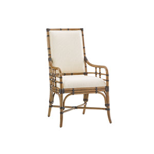 Twin Palms Brown and White Summer Isle Upholstered Arm Chair