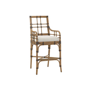 Twin Palms Brown and White Lands End Bar Stool