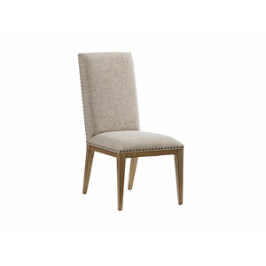 Cypress Point Antique Brass and Ivory Devereaux Upholstered Side Chair