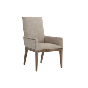 Cypress Point Antique Brass and Gray Devereaux Upholstered Arm Chair