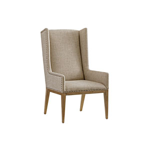 Cypress Point Antique Brass and Gray Milton Host Chair