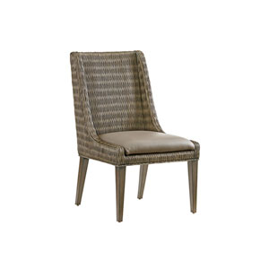 Cypress Point Smoke Gray and Brown Brandon Woven Side Chair